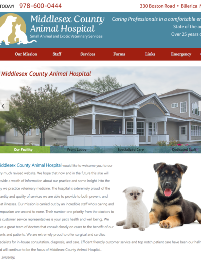 Middlesex_County_Animal_Hospital website design